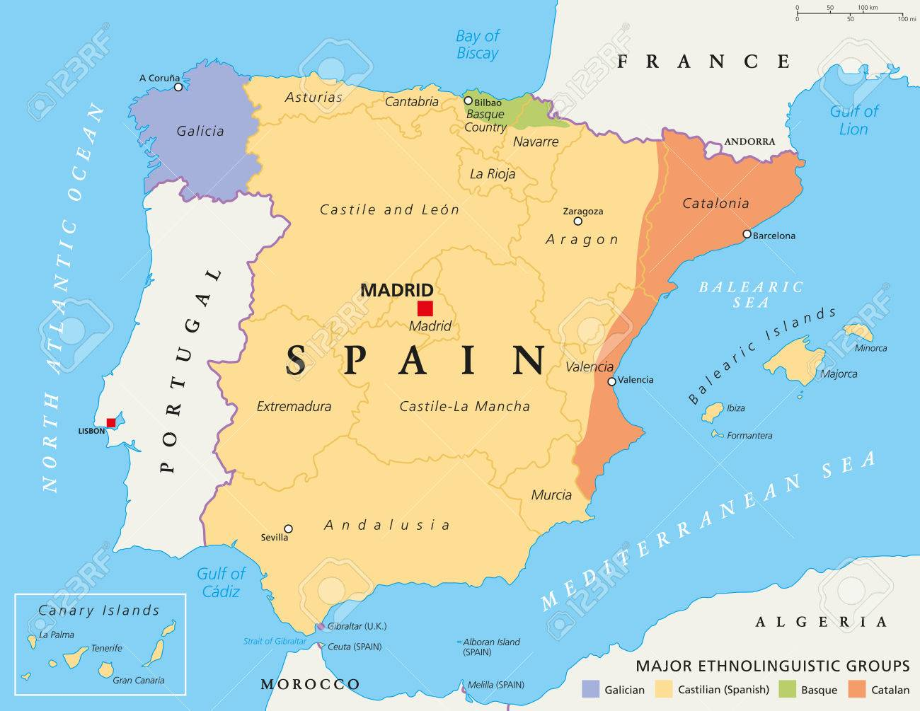 Basque Map Of Spain.Spain Autonomous Communities Map Administrative Divisions With