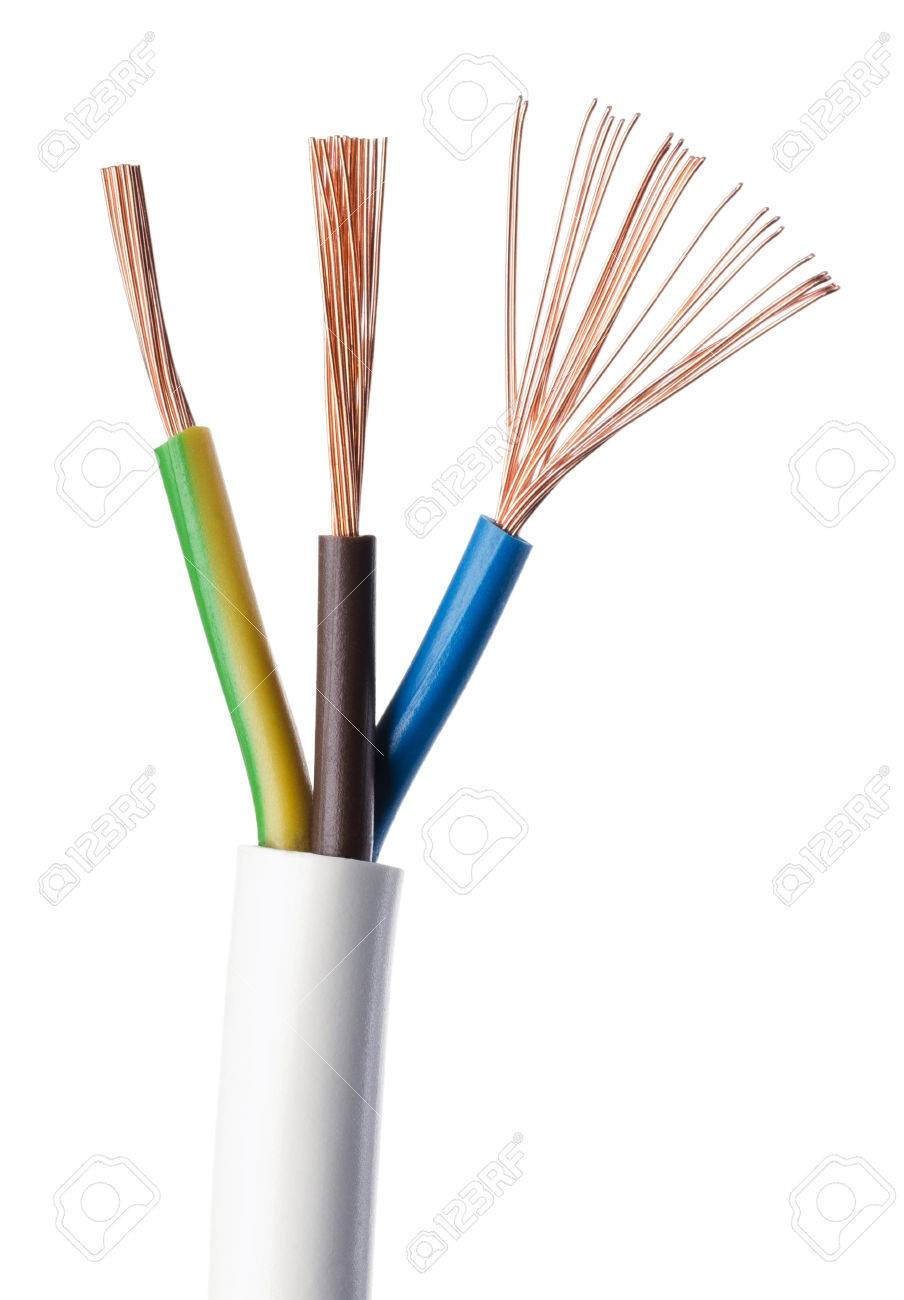 electrical power cable iec standard on white background  cross-section   cable jacket,
