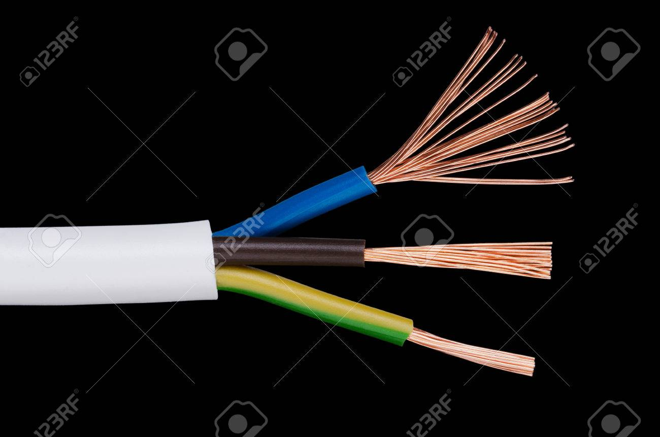 Electrical Power Cable Iec Standard On Black Background Cross Wiring Section Jacket