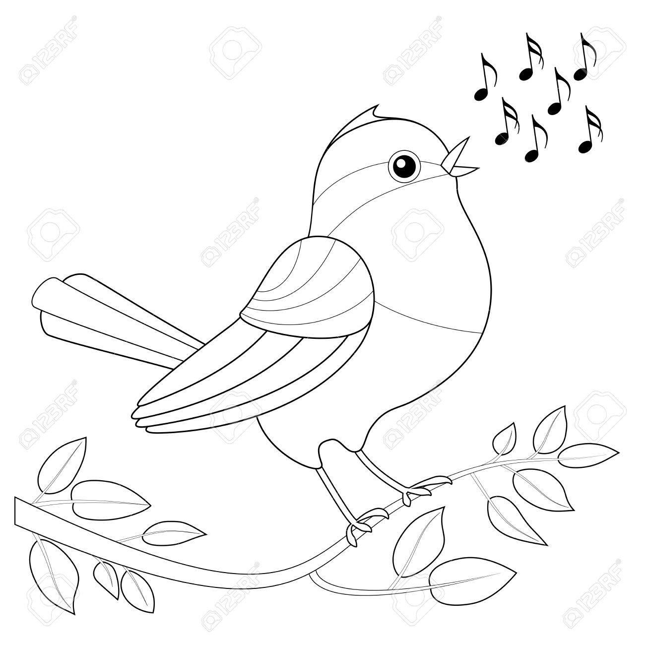 Songbird Imagen Para Colorear Pájaro Del Canto Con Notas De Espera Para Ser Coloreado