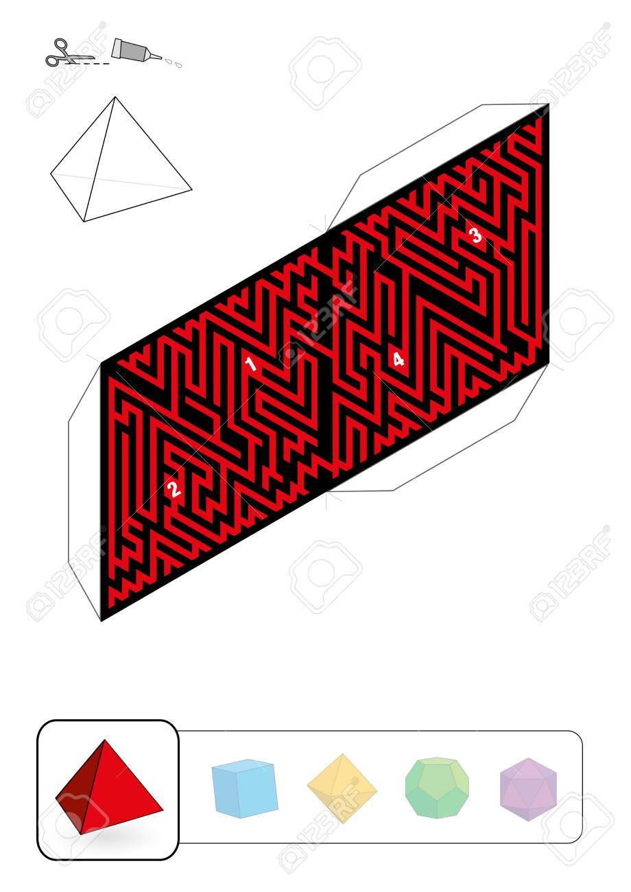 TETRAHEDRON MAZE - Template Of One Of Five Platonic Solid Labyrinths ...