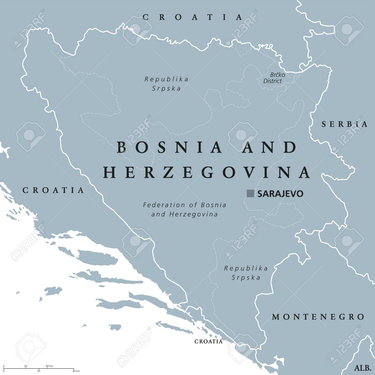 Bosnia And Herzegovina Political Map With Capital Sarajevo Country