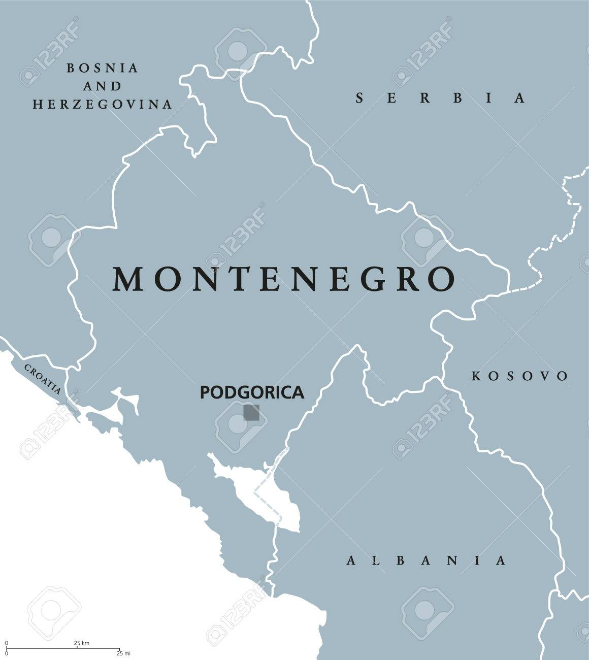 Carte Europe Grise.Carte Politique Du Montenegro Avec Podgorica Et Pays Voisins Etat Souverain Dans L Europe Du Sud Est De La Peninsule Balkanique Illustration Grise