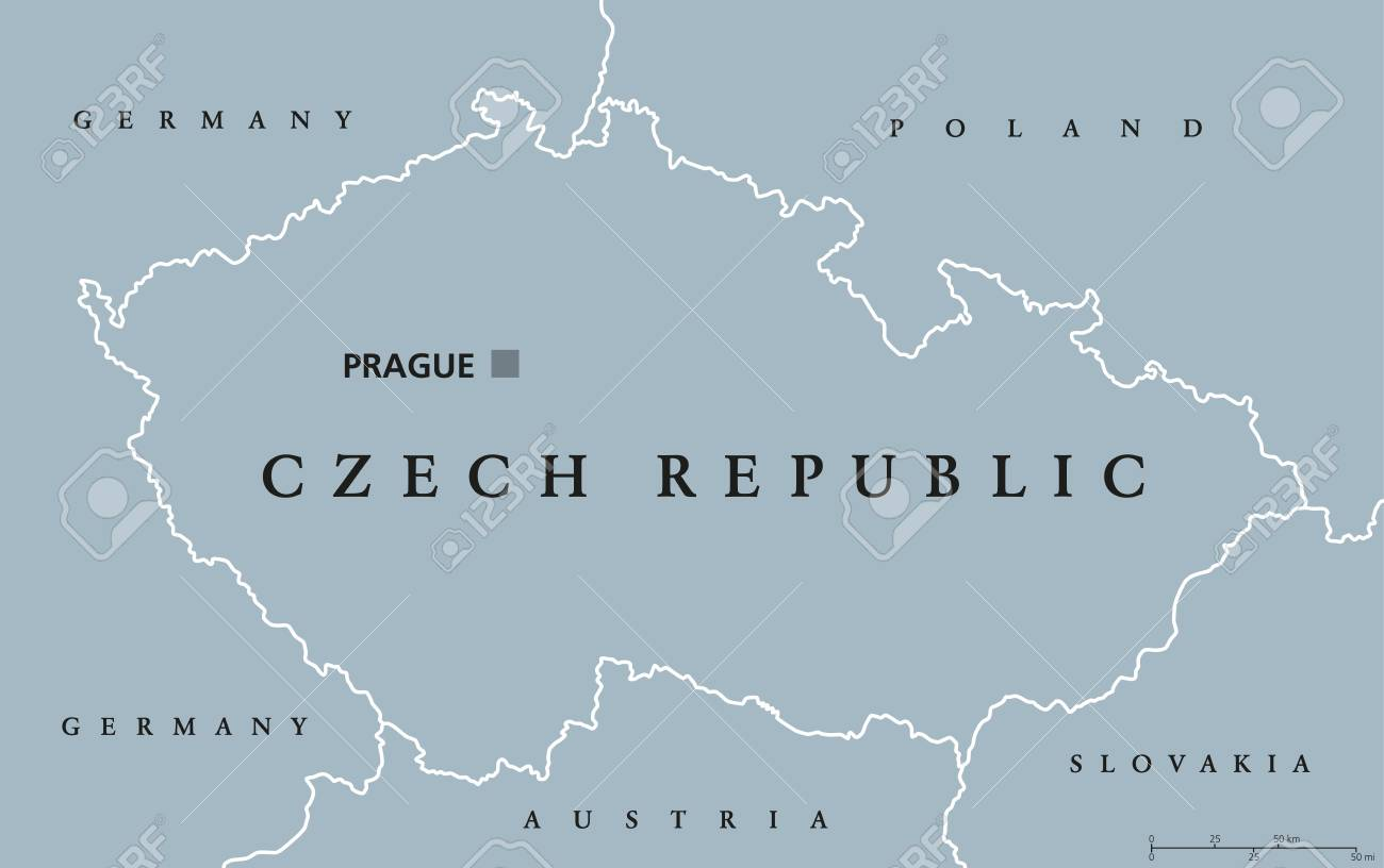 Czech Republic Political Map With Capital Prague National Borders