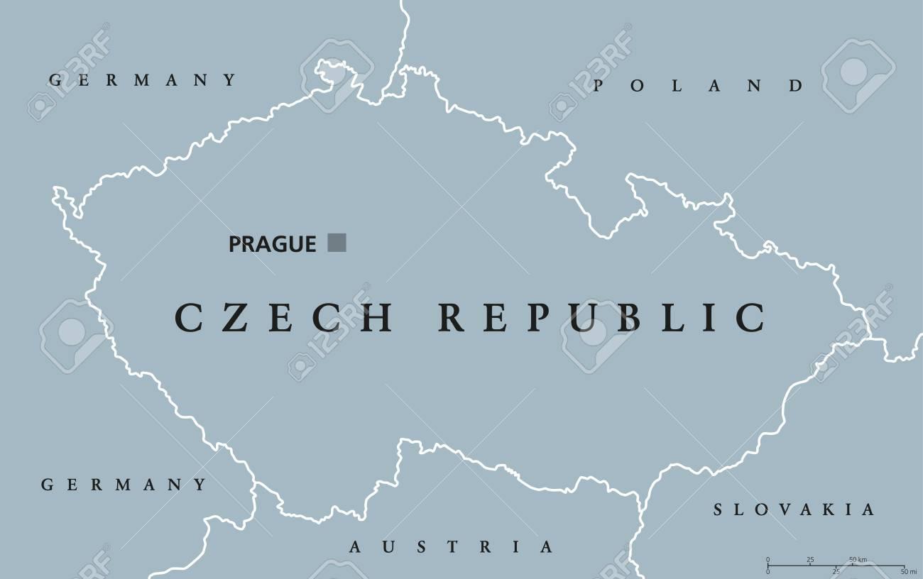 Prag Karte Tschechien.Stock Photo