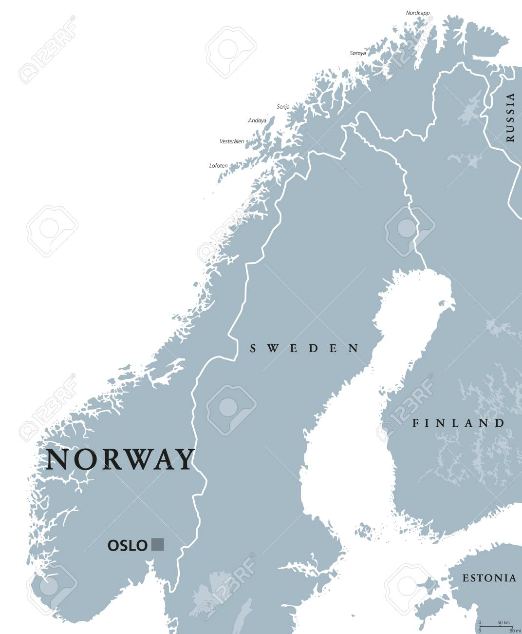 Norway Political Map With Capital Oslo National Borders And Royalty Free Cliparts Vectors And Stock Illustration Image 72773737