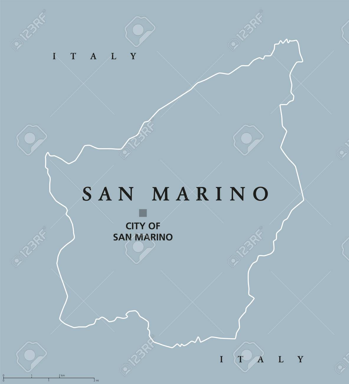 Most Serene Republic Of San Marino Political Map With Capital