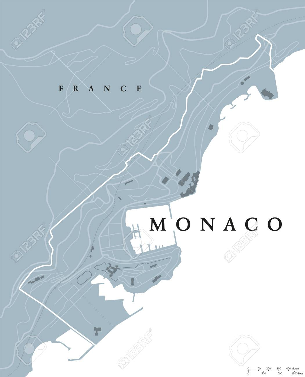 Monaco Political Map Principality Sovereign City And Microstate