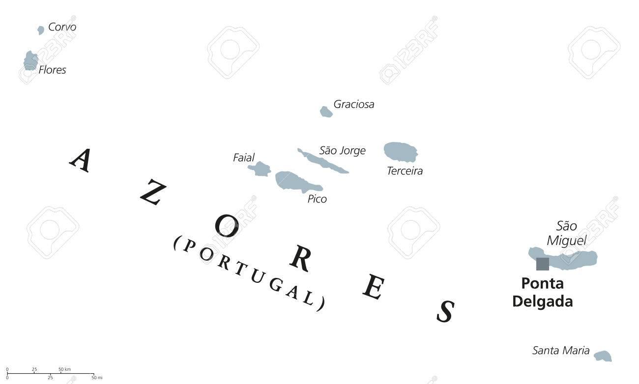 Azores Political Map With Capital Ponta Delgada. Autonomous Region ...