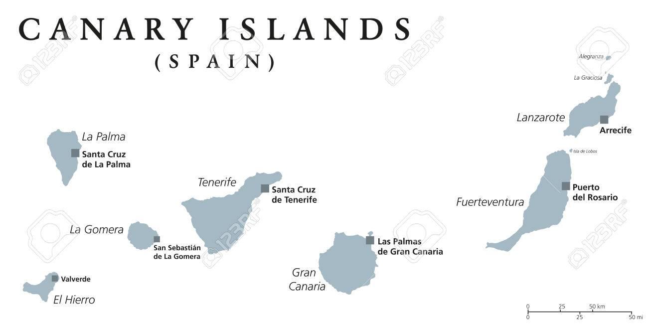 Islas Canarias Mapa Politico.Mapa Politico De Las Islas Canarias Con Capitales Las Palmas Y Santa Cruz Las Canarias Son Un Archipielago Y Comunidad Autonoma De Espana En El
