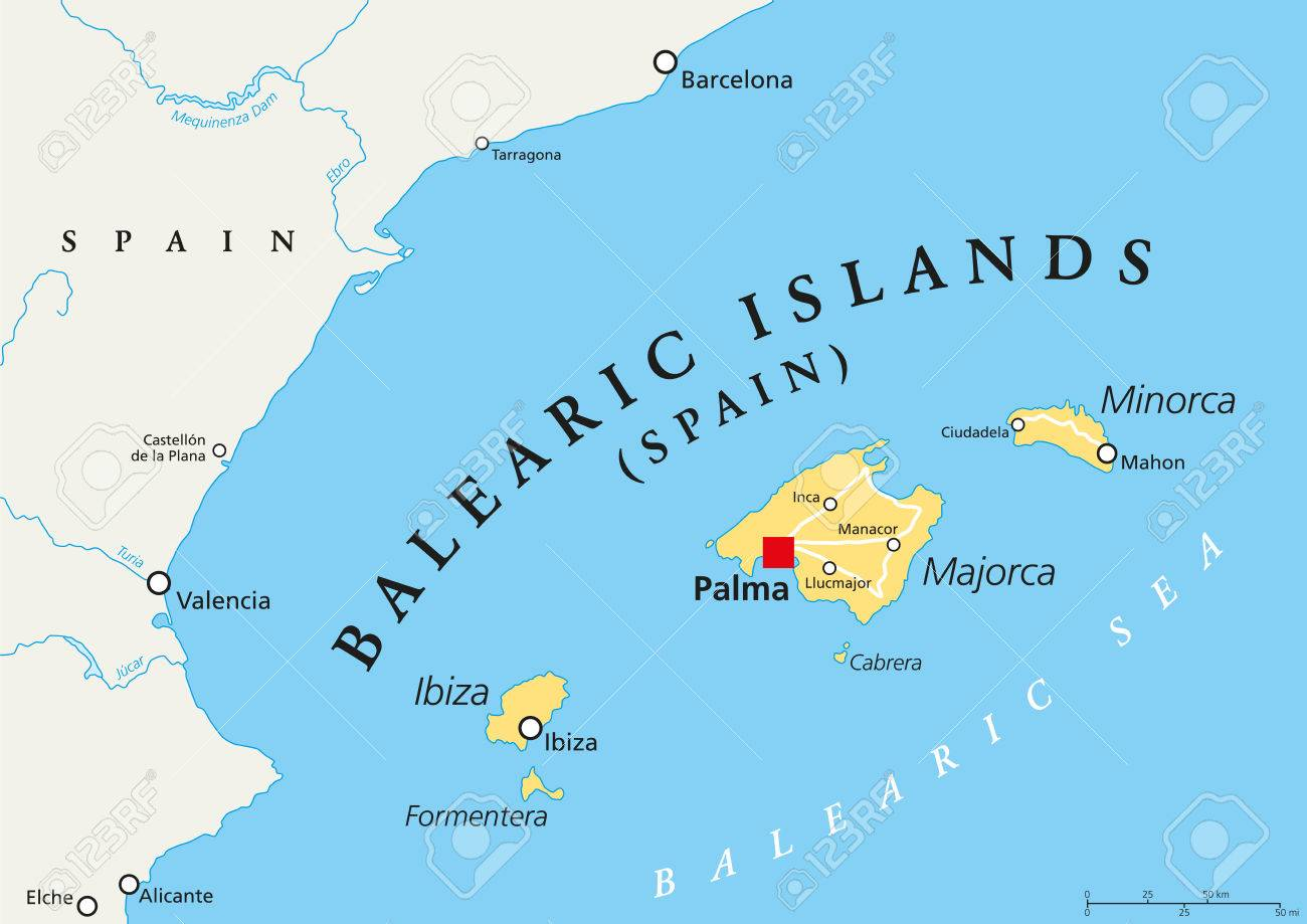Balearic Islands Political Map With Capital Palma Archipelago