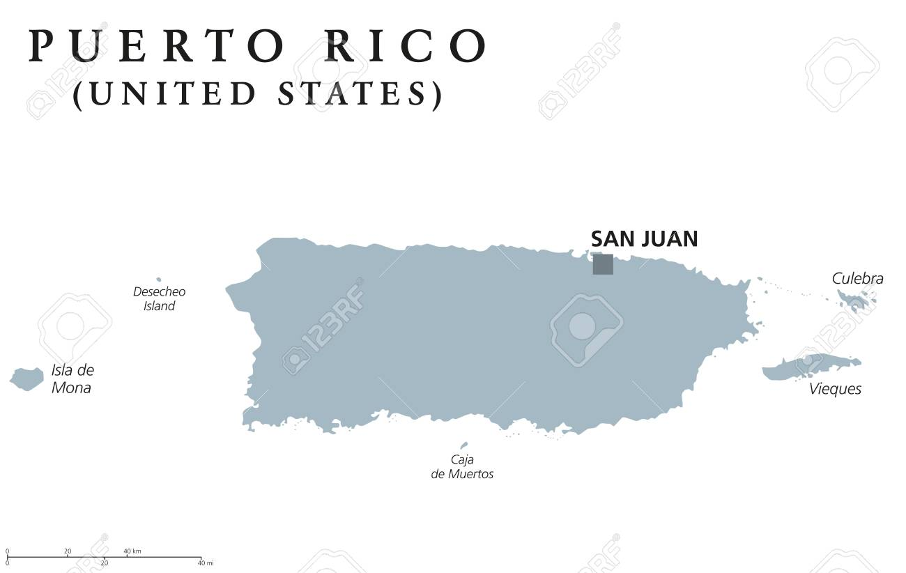 Puerto Rico political map with capital San Juan. Commonwealth..