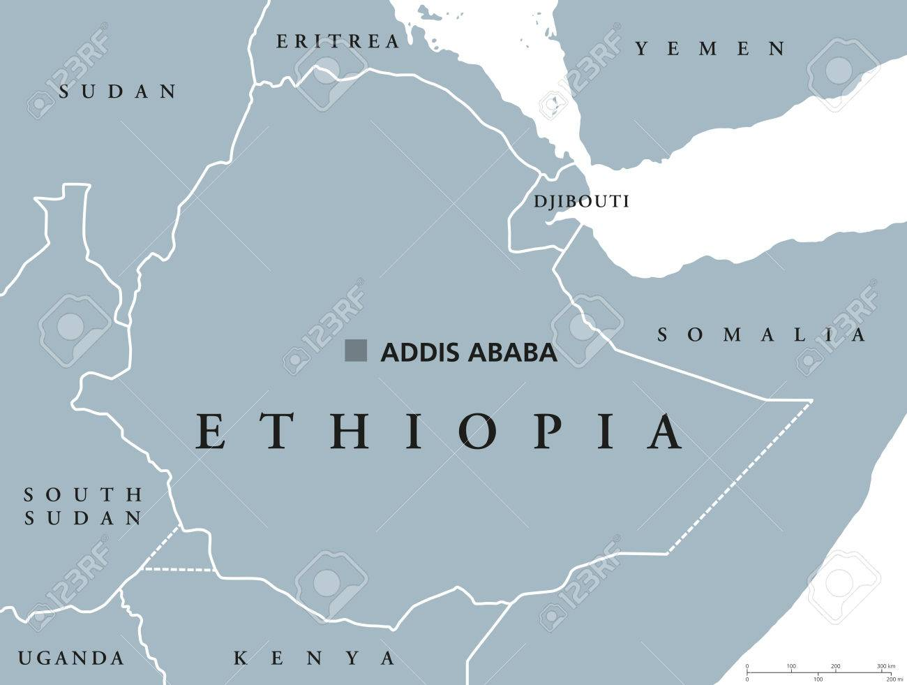 Ethiopia political map with capital addis ababa and borders ethiopia political map with capital addis ababa and borders federal democratic republic and a country gumiabroncs Images