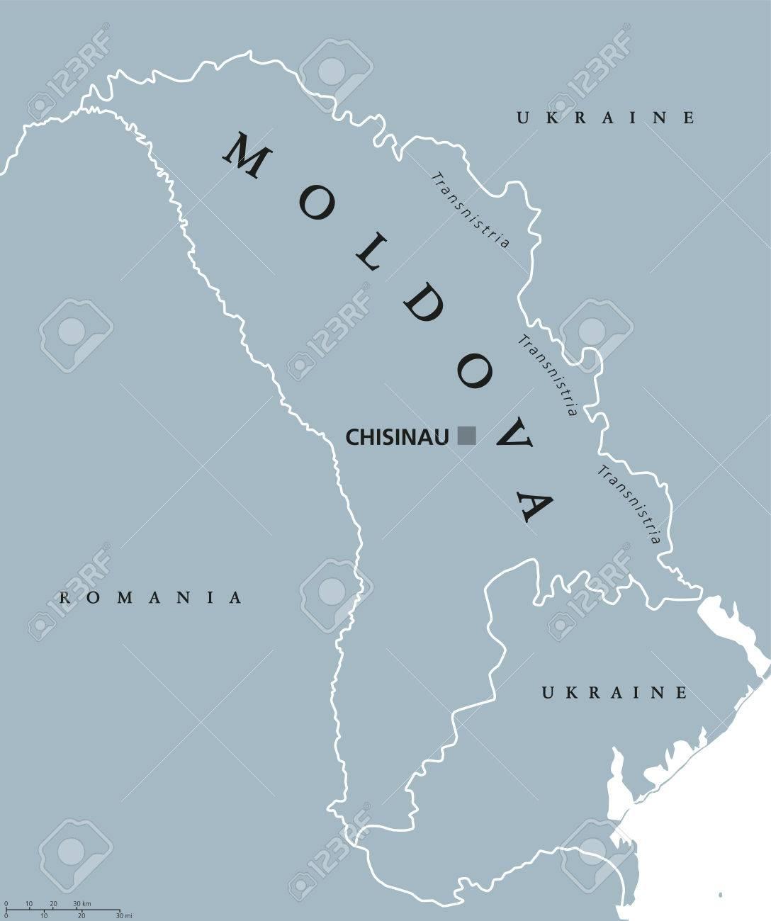 Moldova Political Map With Capital Chisinau Transnistria National