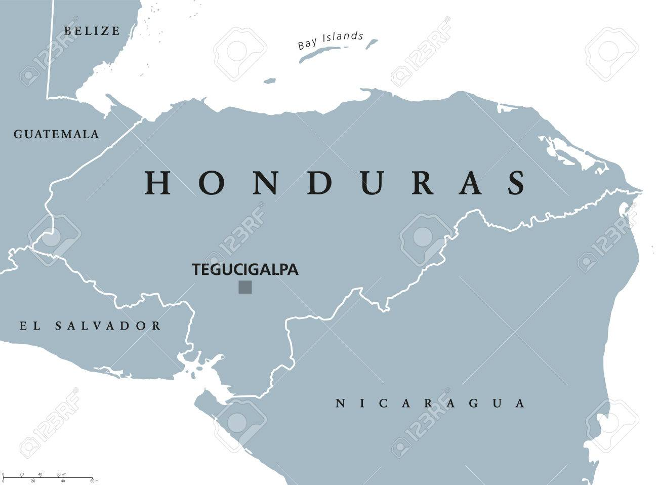 Honduras political map with capital Tegucigalpa, national borders..
