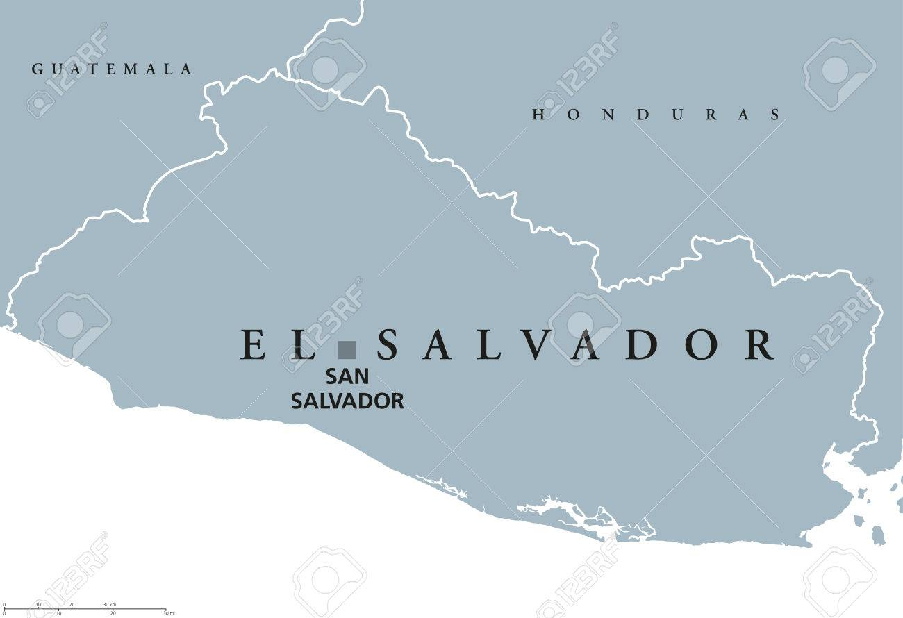 El Salvador Political Map With Capital San Salvador National