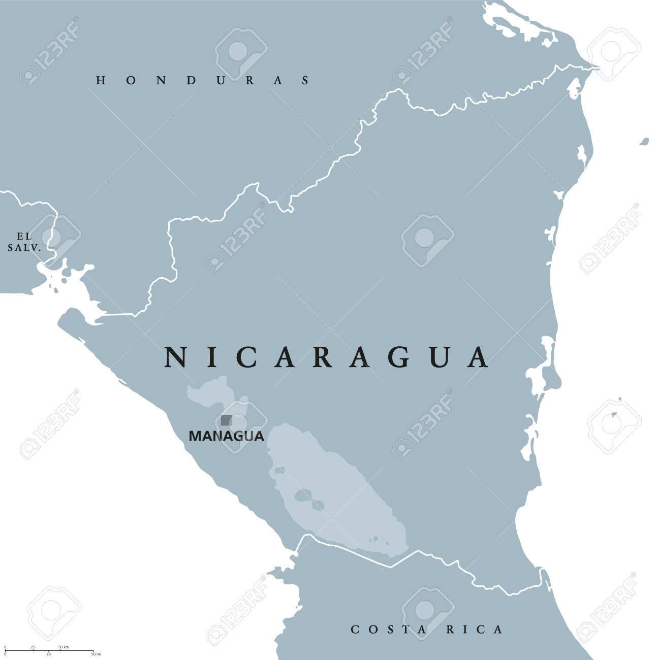 Nicaragua Political Map With Capital Managua National Borders - Honduras country political map