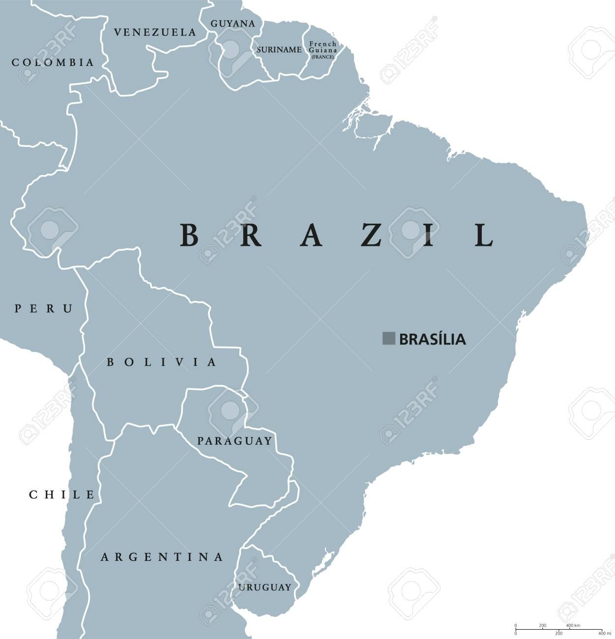 Carte Amerique Du Sud Avec Capitale.Carte Politique Du Bresil Avec La Capitale Brasilia Les Frontieres Nationales Et Les Voisins Republique Federale Et Pays D Amerique Du Sud