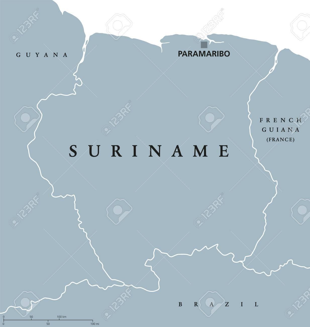 Suriname Political Map With Capital Paramaribo National Borders