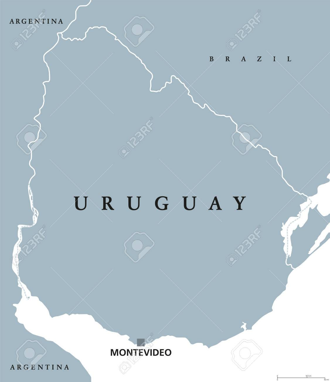 Image of: Uruguay Political Map With Capital Montevideo National Borders Royalty Free Cliparts Vectors And Stock Illustration Image 73890555