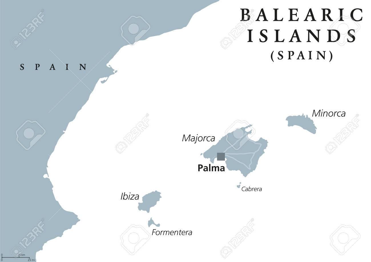 Spagna E Isole Baleari Cartina.Vettoriale Isole Baleari Mappa Politica Con Capitale Palma Maiorca Minorca Ibiza Formentera Spagna Comunita Autonoma Nel Mar Mediterraneo Illustrazione Grigio Su Sfondo Bianco Etichettatura Inglese Vettore Image 75249266
