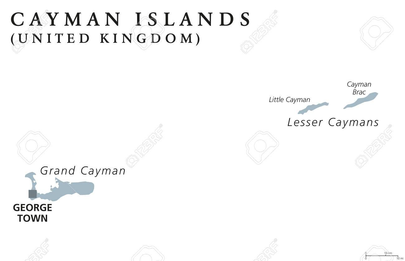 Map Of Uk Overseas Territories.Cayman Islands Political Map With Capital George Town British