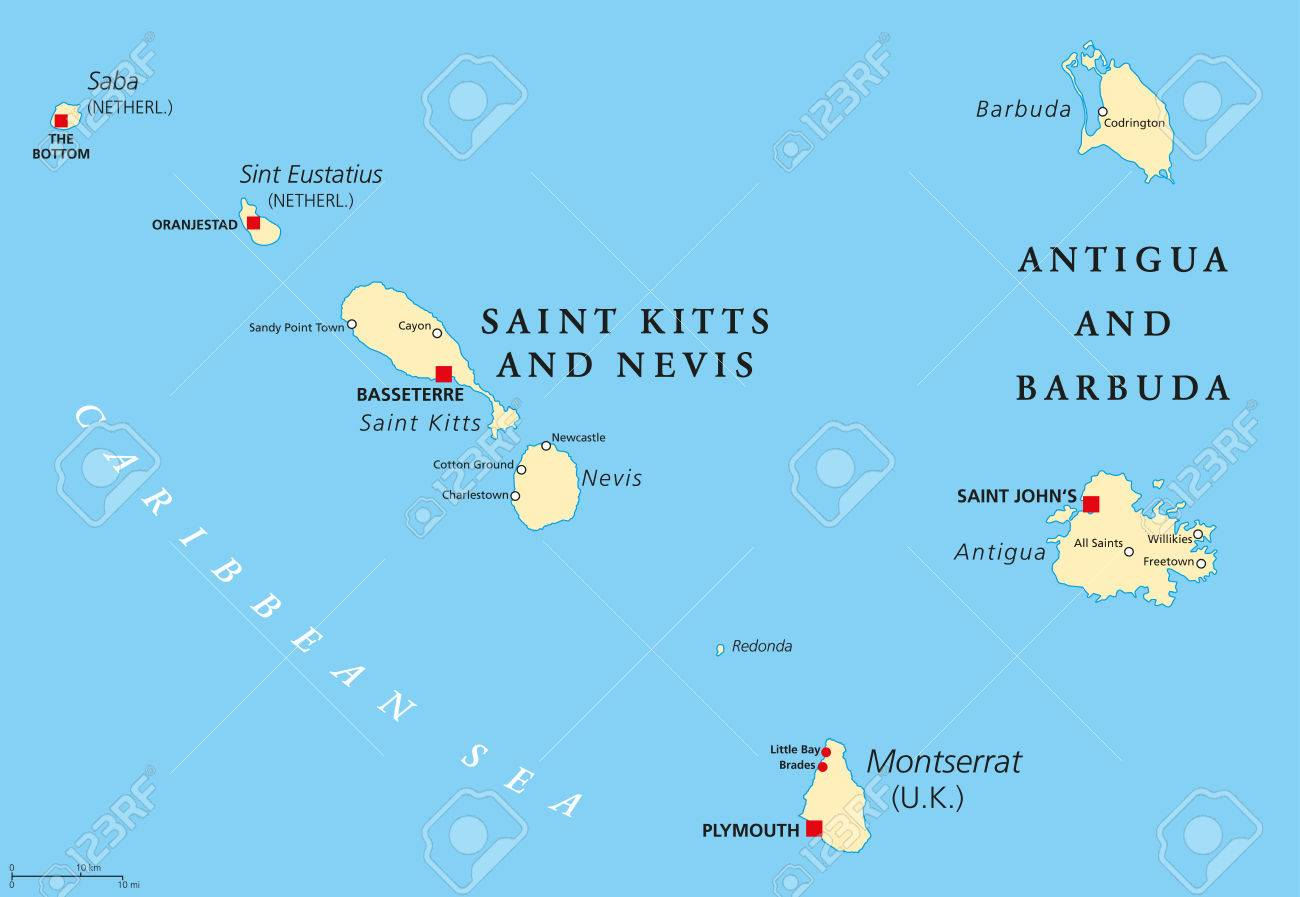 Saint Kitts And Nevis, Antigua And Barbuda, Montserrat, Saba.. on in texas map, in asia map, in mexico map, in sweden map, in france map, in georgia map, in germany map, in china map, in usa map, in latin america map,