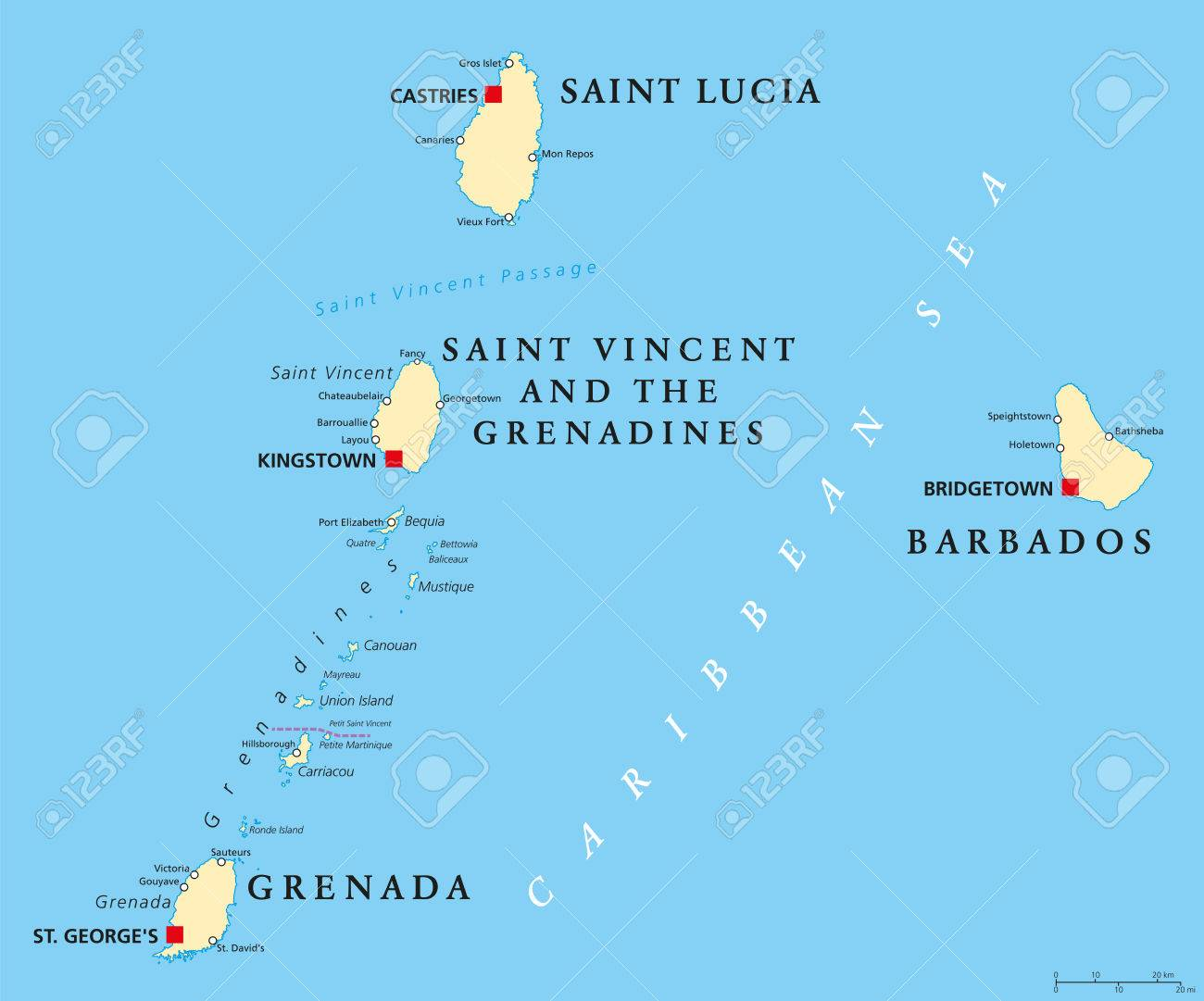 Barbados Grenada Saint Lucia Saint Vincent And The Grenadines