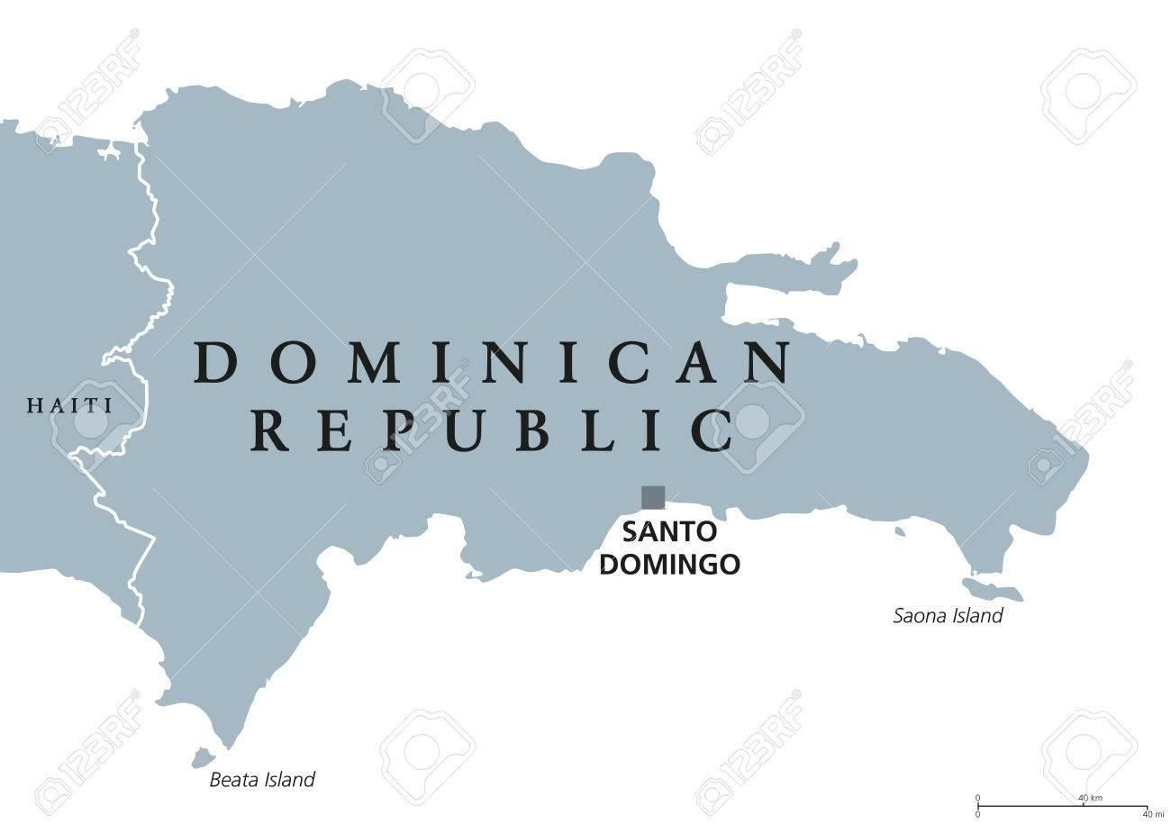 Dominican Republic Political Map With Capital Santo Domingo