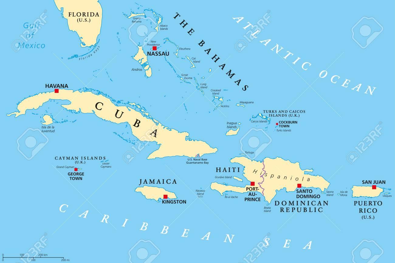 Carte Cuba.Carte Politique Des Grandes Antilles Iles Des Caraibes Cuba Jamaique Haiti Republique Dominicaine Porto Rico Iles Caimans Bahamas Iles