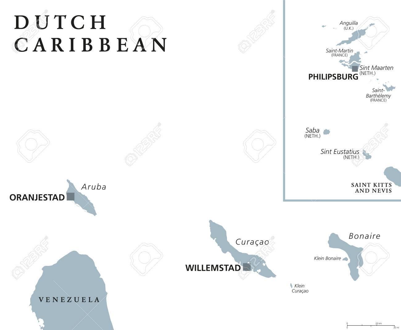 Dutch Caribbean Political Map With Aruba Curacao Bonaire Sint - Netherlands antilles aruba political map