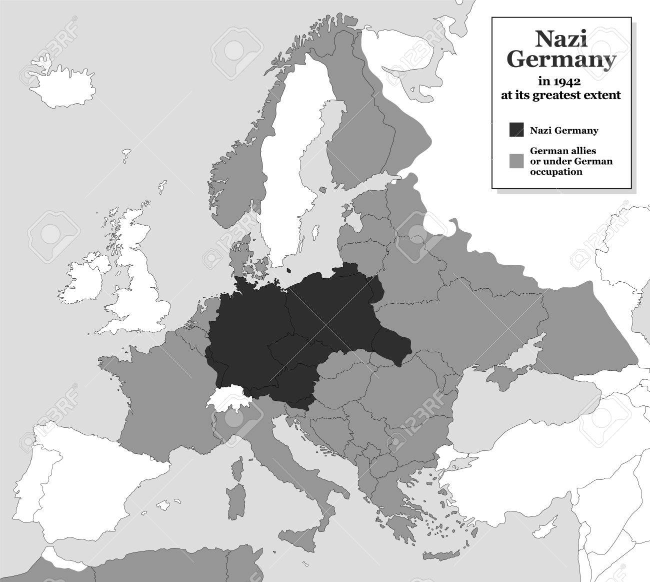 Nazi Map Of Europe.Nazi Germany At Its Greatest Extent During Wwii In 1942 With
