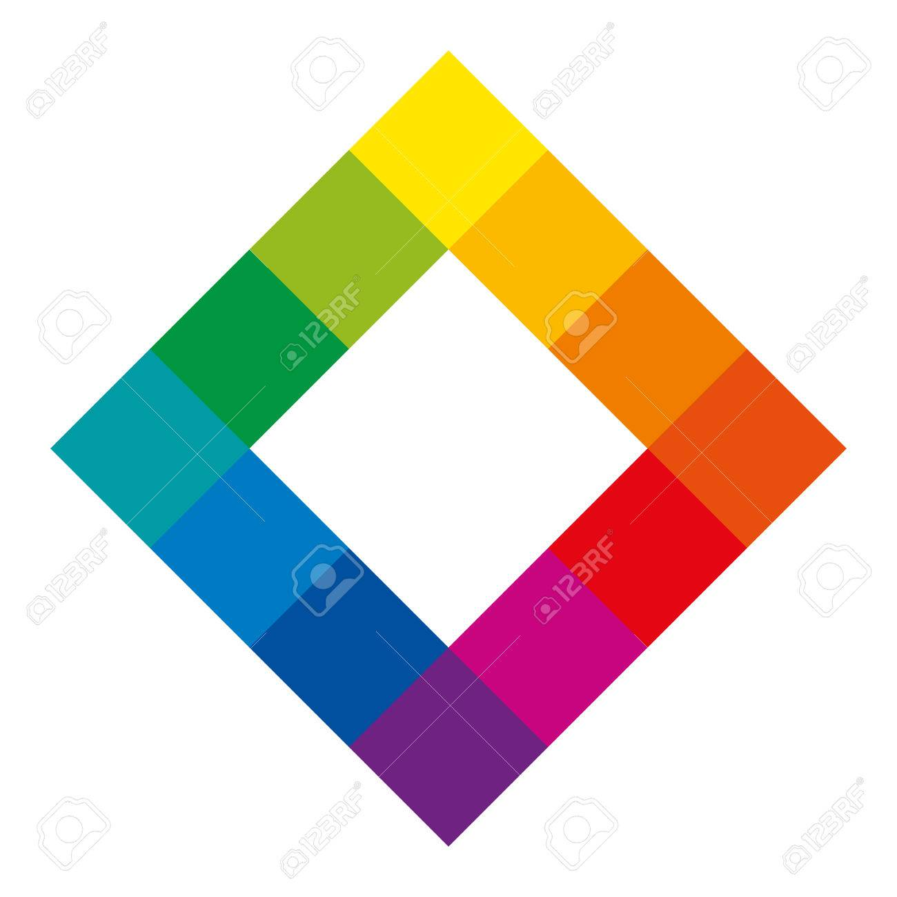 Twelve Unique Color Hues Of The Color Wheel In Square Shape Showing Royalty Free Cliparts Vectors And Stock Illustration Image 77783533