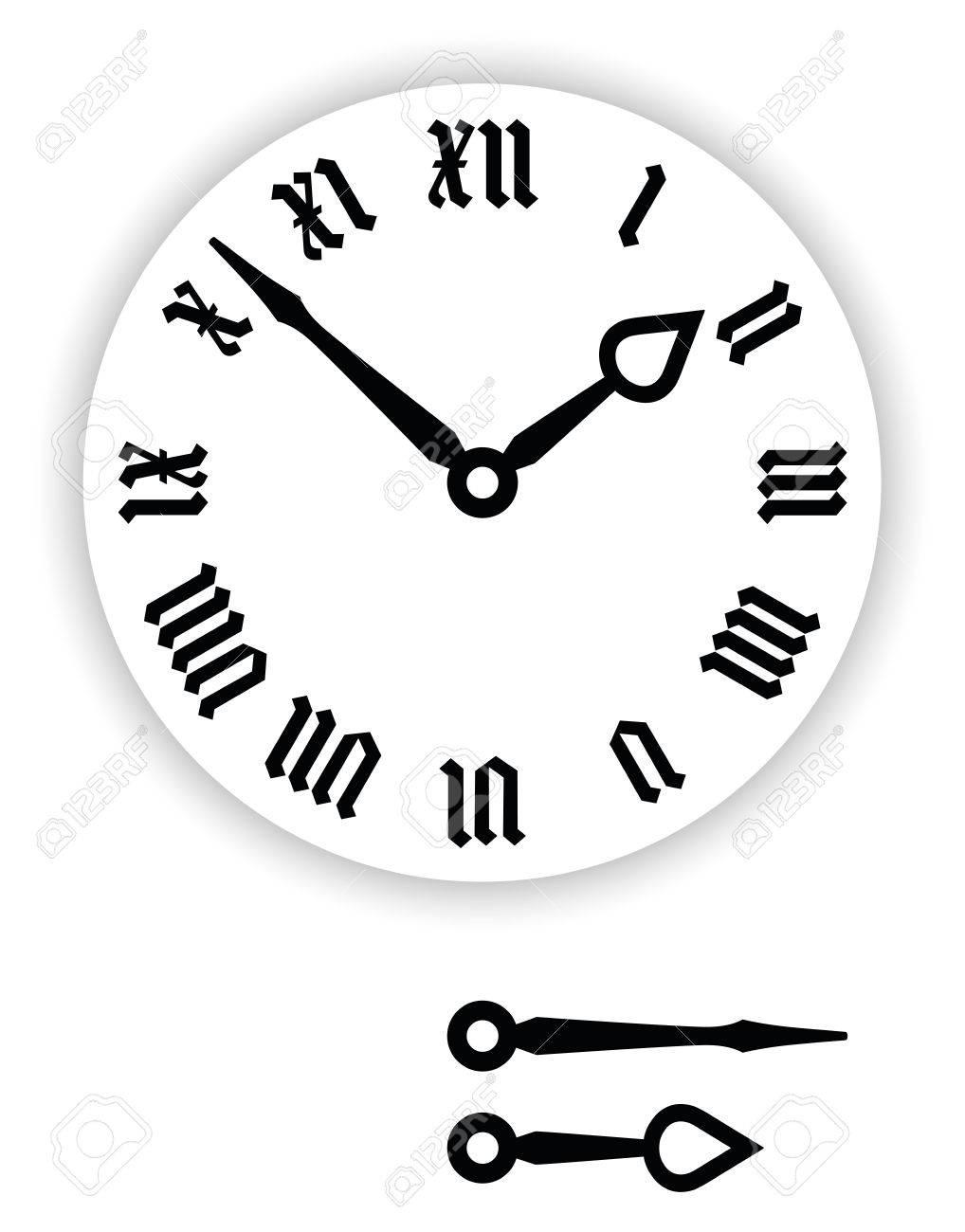 Fraktur Roman numerals clock face  Part of analog clock with