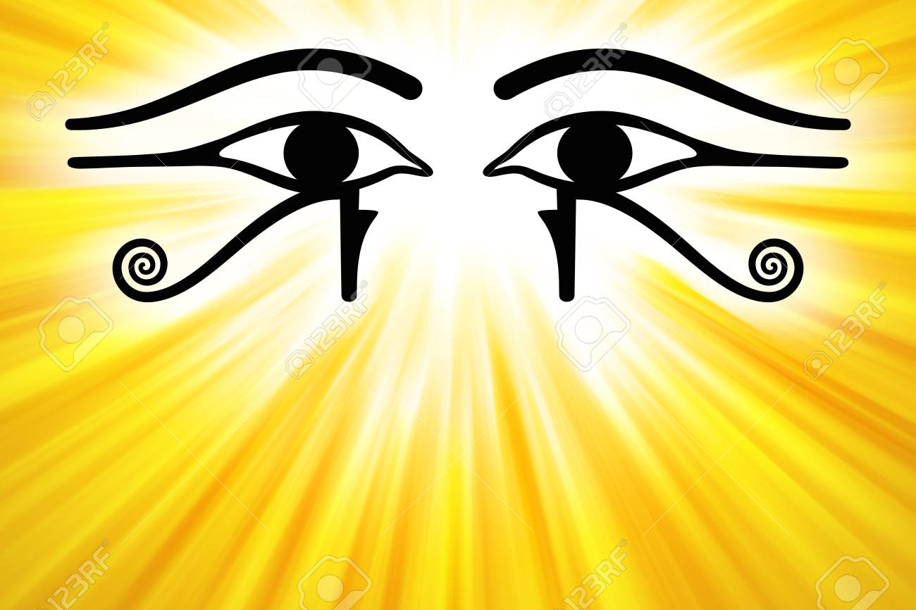 Eyes Of Horus With Golden Sunbeams From Upper Center Wedjat The