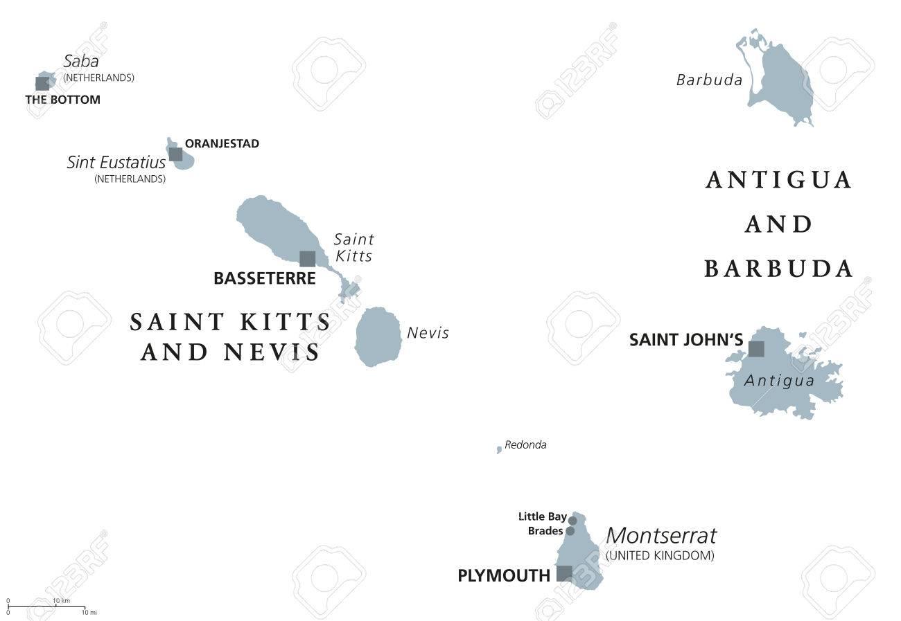 Saint Kitts And Nevis, Antigua And Barbuda, Montserrat, Saba