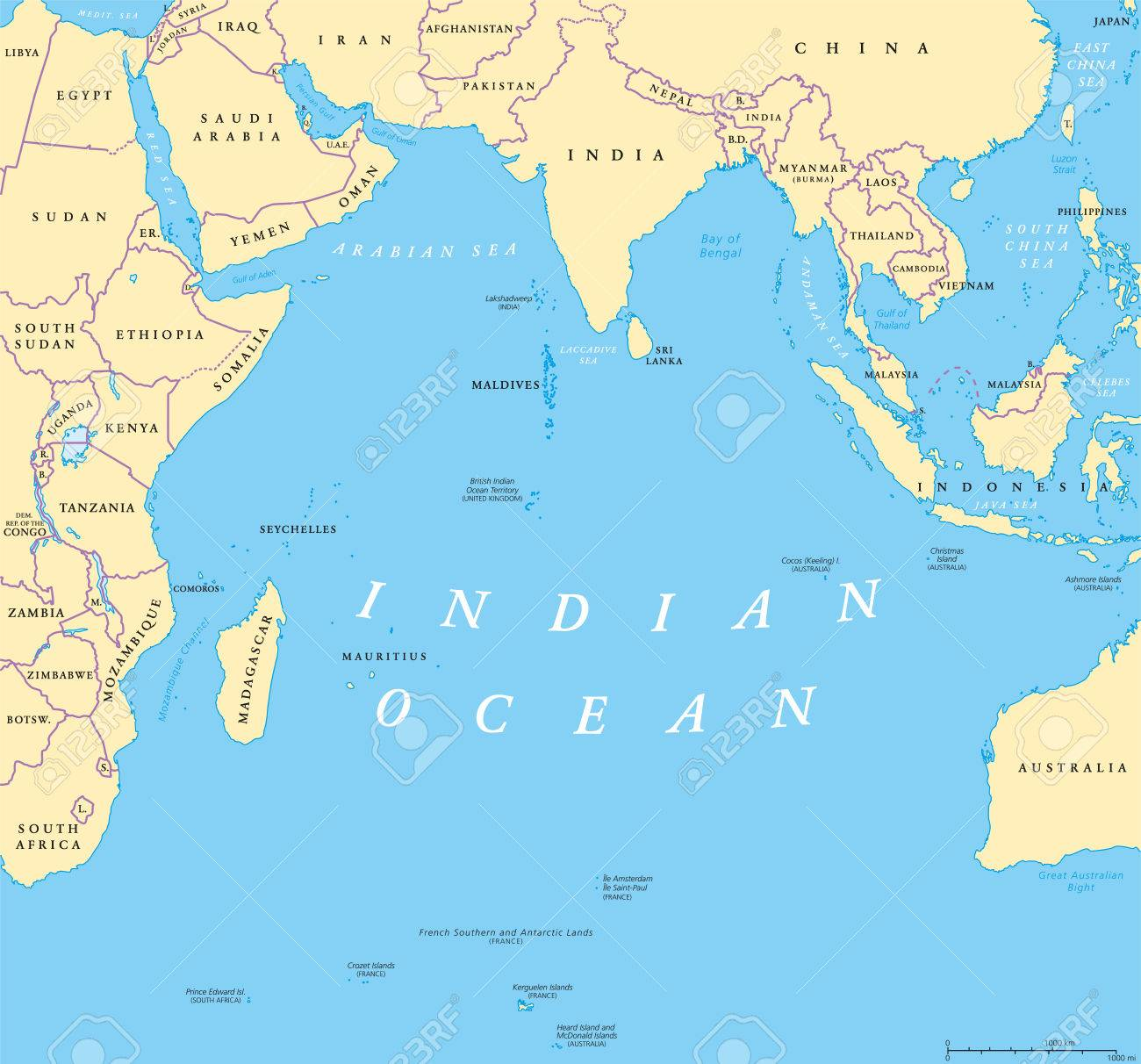Indian Ocean Political Map. Countries And Borders. World's Third
