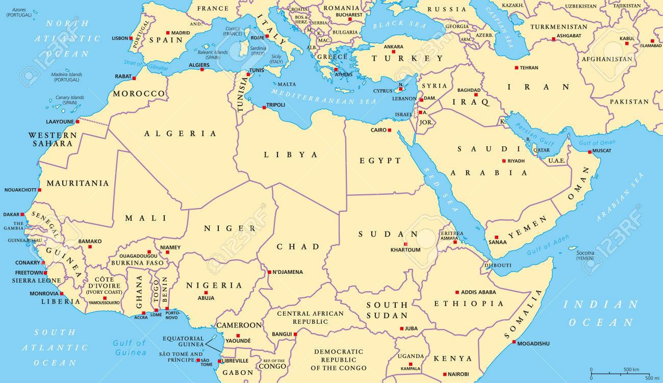 Africa Politica Cartina In Italiano.Mappa Politica Del Nord Africa E Medio Oriente Con Le Capitali Piu Importanti E Le Frontiere Internazionali Maghreb Mediterranei Occidentali E