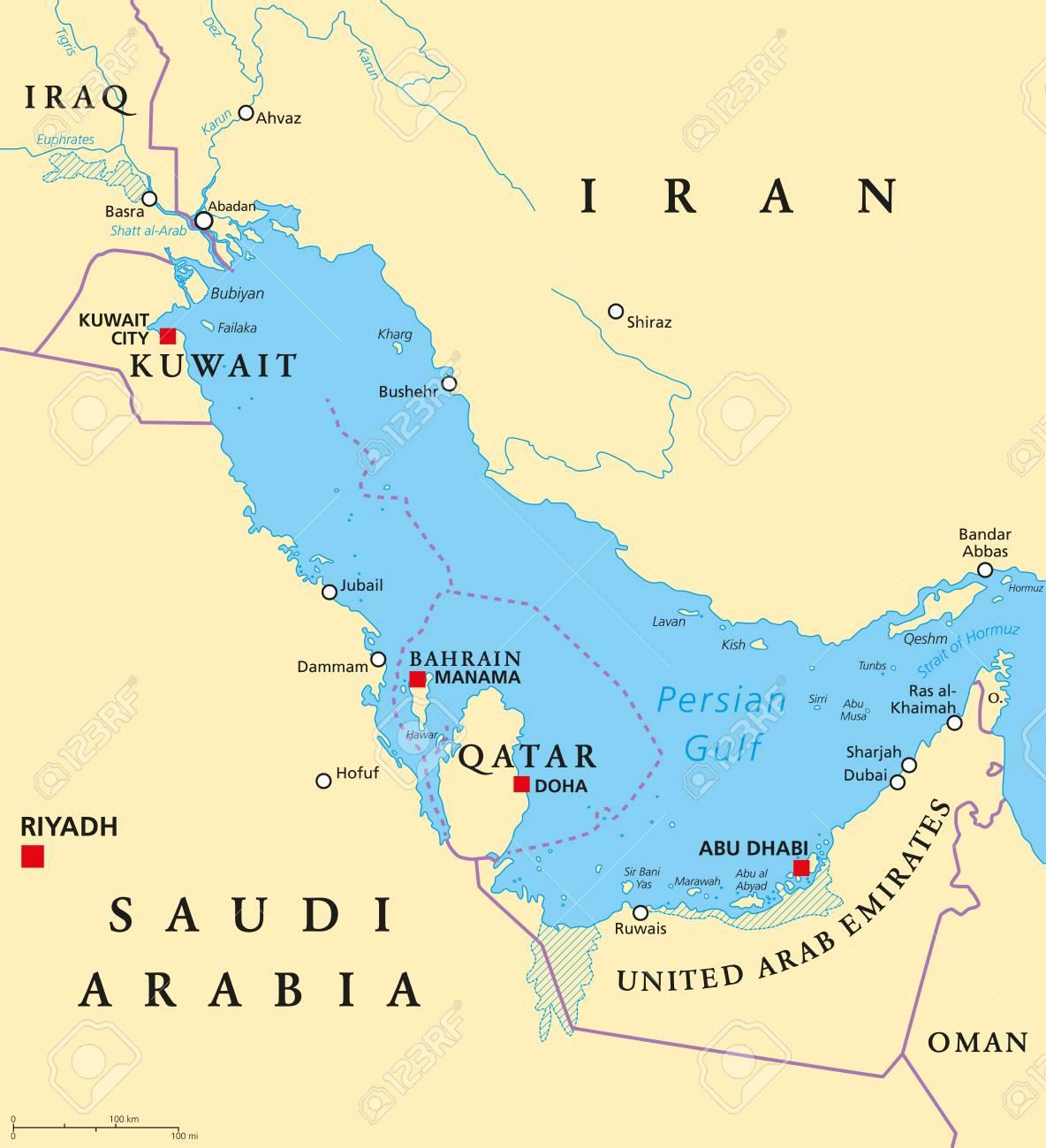 Persische Golf Region Lander Politische Karte Hauptstadte Grenzen Stadte Und Flusse Iran Irak Kuwait Katar Bahrain Vereinigte Arabische Emirate Saudi Arabien Oman Illustration Englische Beschriftung Vektor Lizenzfrei Nutzbare
