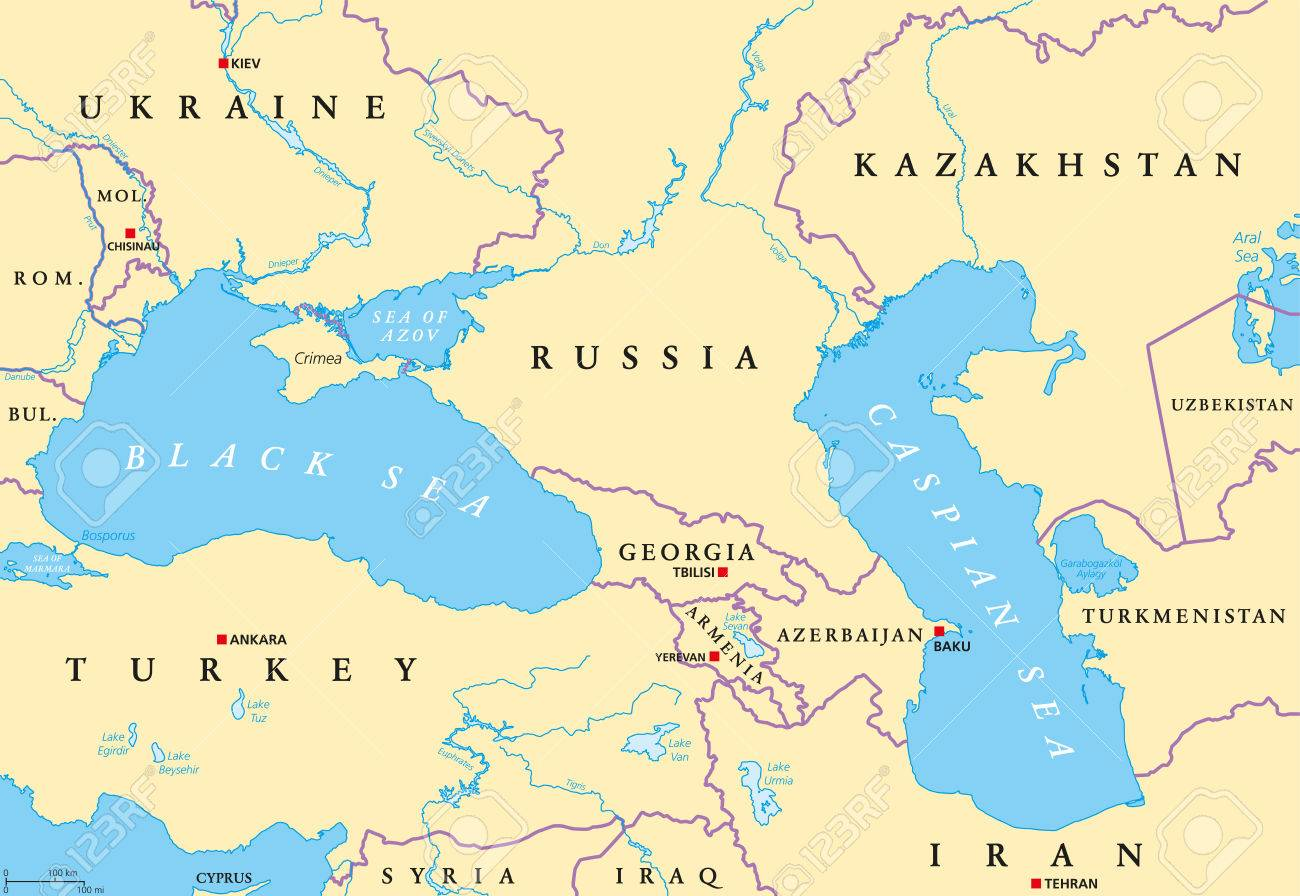 Map Of Asia Rivers And Seas.Black Sea And Caspian Sea Region Political Map With Capitals