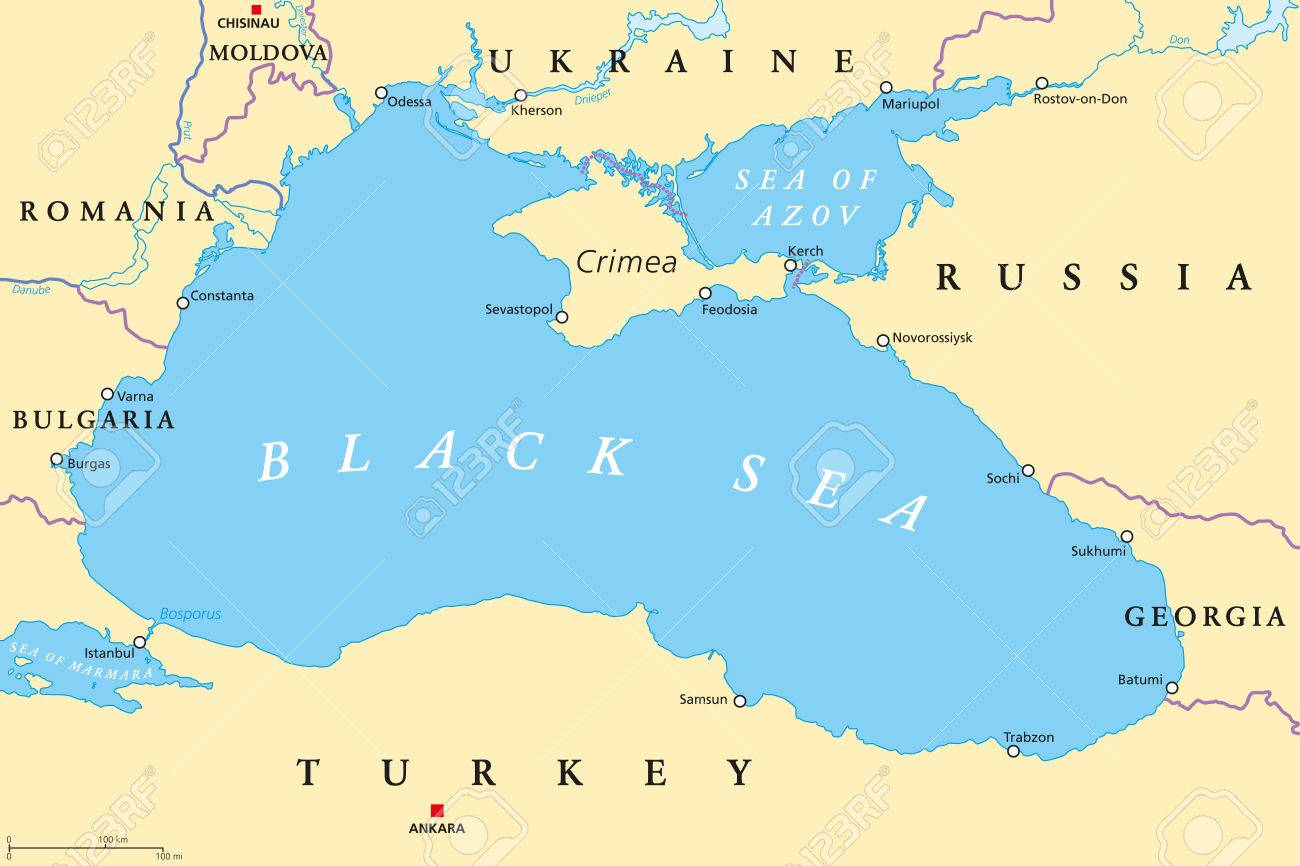 Black Sea And Sea Of Azov Region Political Map With Capitals