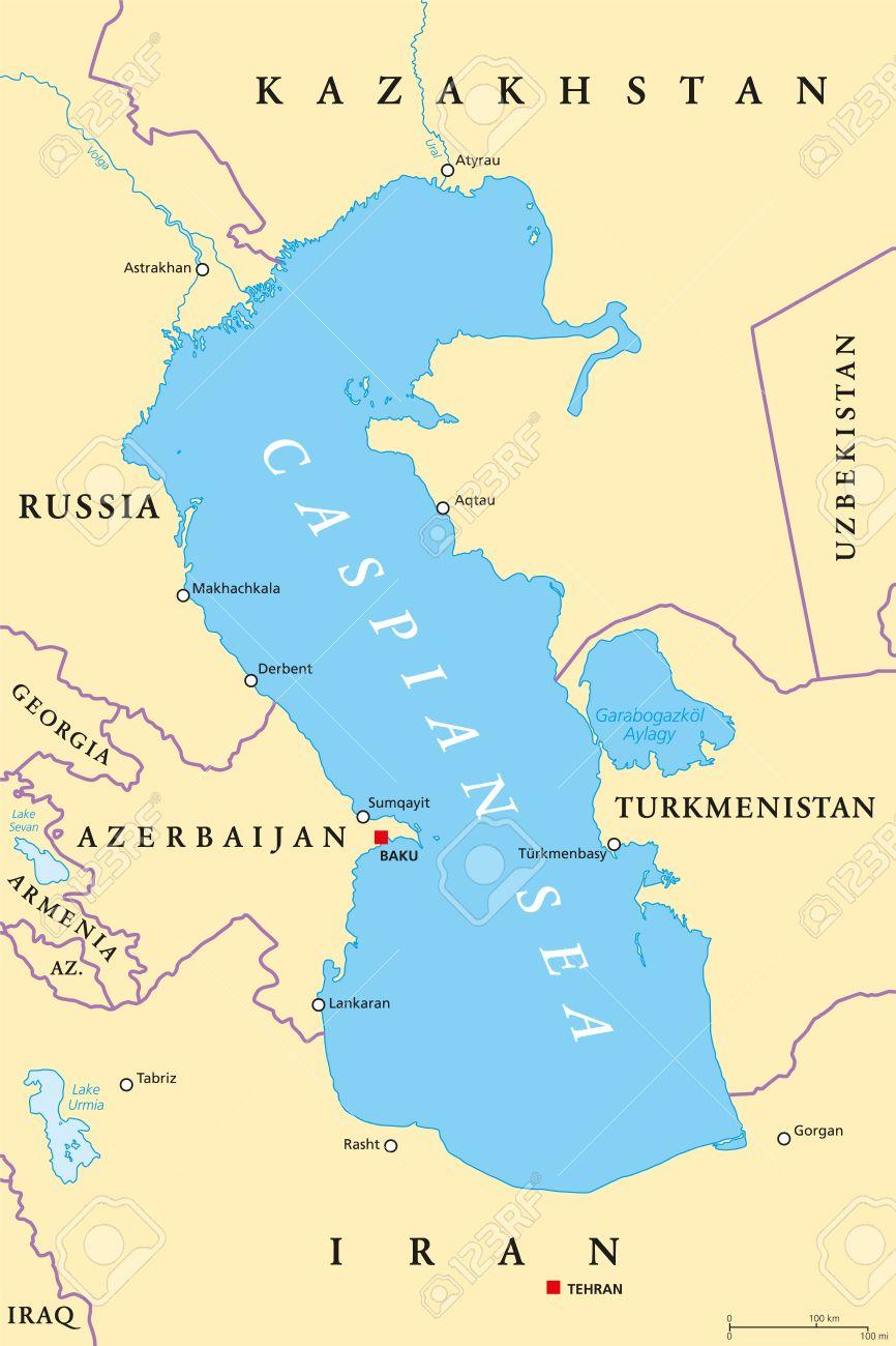 Caspian Sea Region Political Map With Most Important Cities - Caspian sea world map