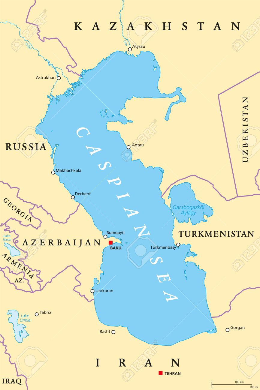 Caspian Sea region political map with most important cities,..