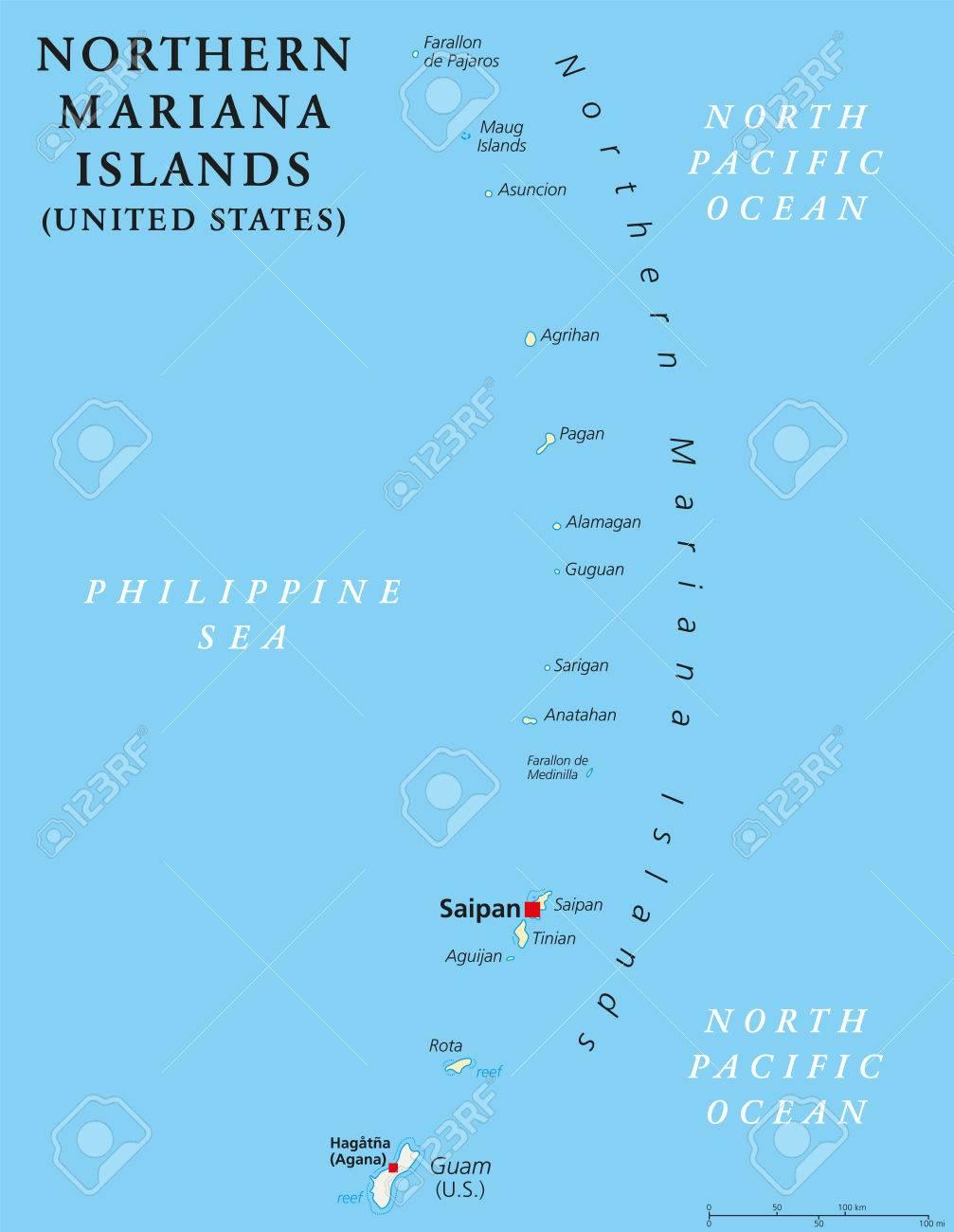 Northern Mariana Islands Political Map With Capital Saipan. Insular ...
