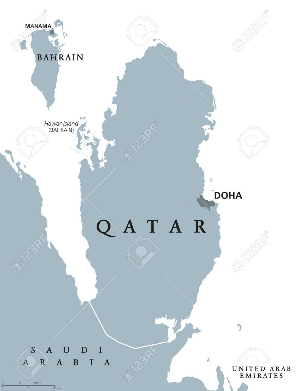 Qatar Political Map With Capital Doha Country In Western Asia