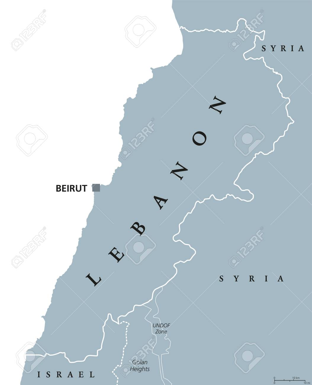 Mediterranean Political Map.Lebanon Political Map With Capital Beirut Lebanese Republic