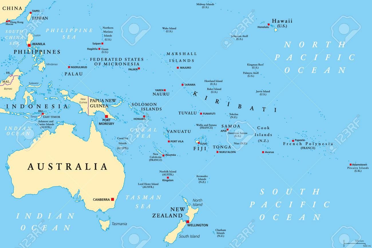Oceania Political Map Region Centered On Central Pacific Ocean