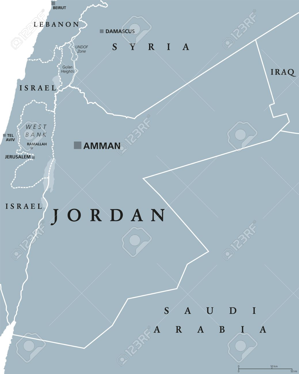 Jordan Political Map.Jordan Political Map With Capital Amman The Hashemite Kingdom