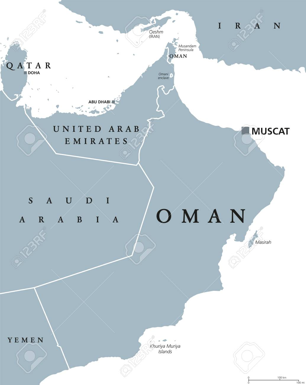 Oman political map with capital Muscat. Sultanate and Arab country..