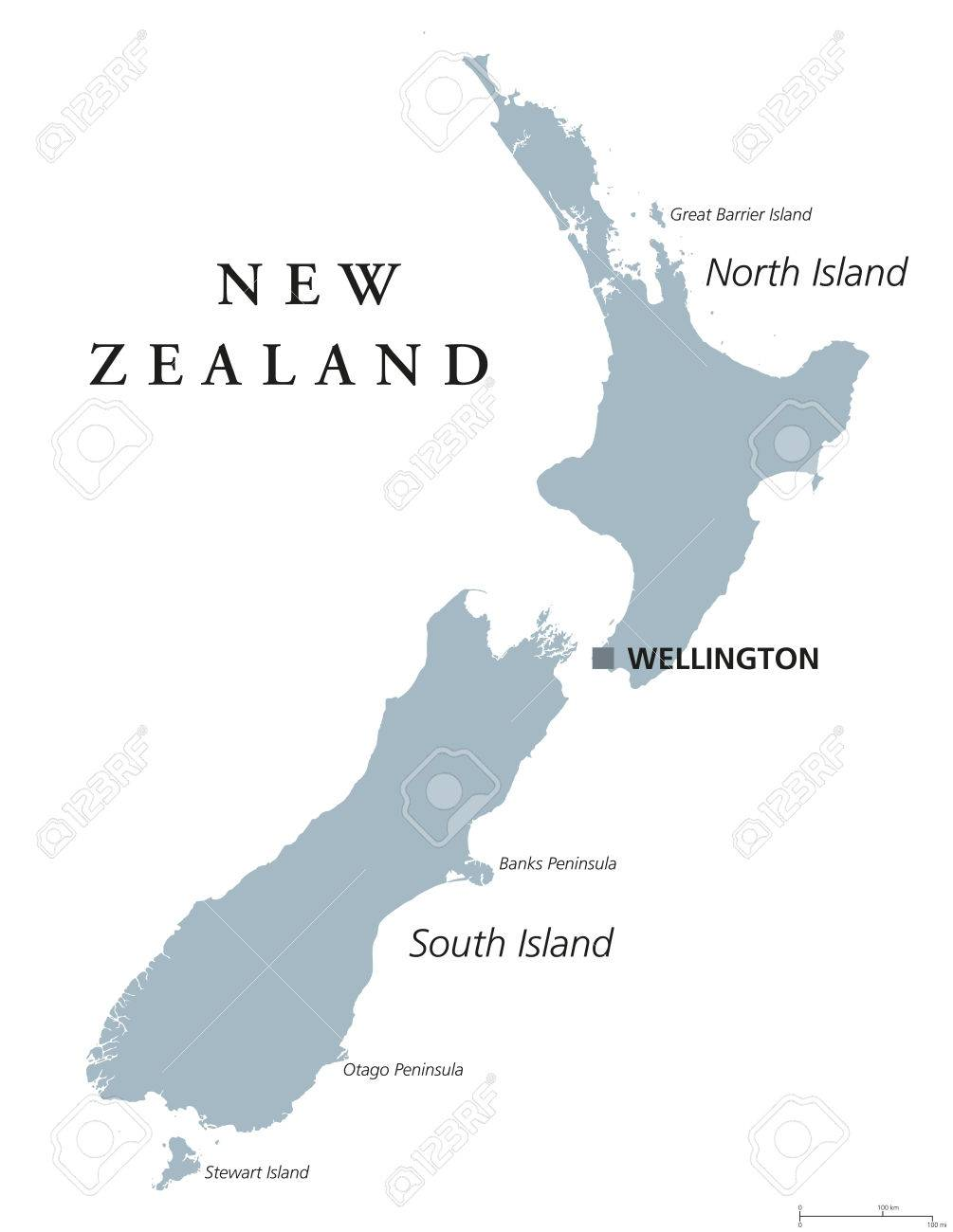 Map Of New Zealand Wellington.New Zealand Political Map With Capital Wellington Island Nation